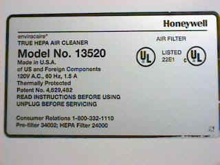 Honeywell Label on the bottom of the honeywell air cleaner.